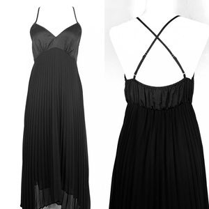 NEW Anthropologie Black Pleated Chemise Slip Dress